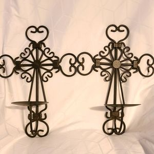 Scrolled metal wall candle holders